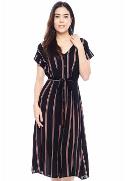 Striped Waist Tie Midi Dress