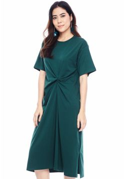 Basic Knotted Bell Sleeve Dress