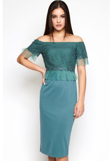 Off Shoulder Lace Dress with Netting