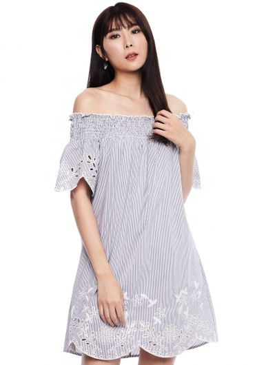 Embroidered Off-Shoulder Stripe Dress