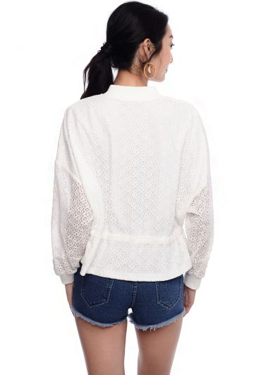 Laced Drawstring Waist Blouse