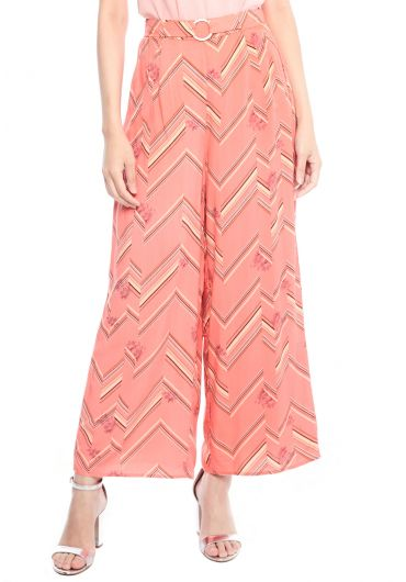 Geometric Floral Wide Leg Pants
