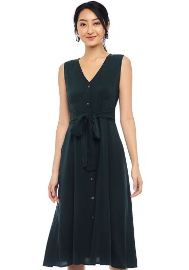 Buttoned Waist Tie Sleeveless Dress