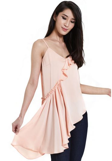 Ruffled Asymmetrical Hem Blouse