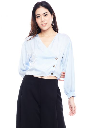 Button Wrap Bishop Sleeve Blouse