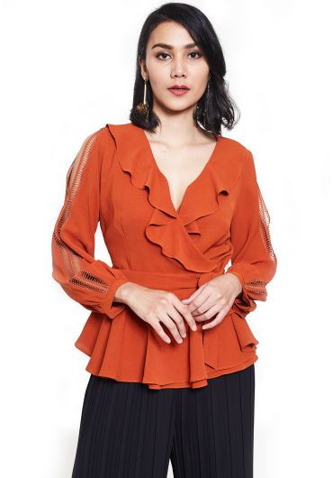 Frilled Wrap Blouse