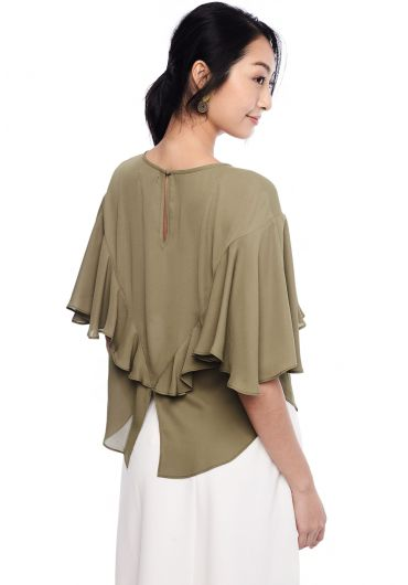 Draped Ruffle Blouse