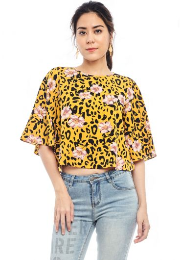 Printed Short Choir Boy Sleeve Top