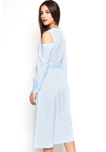 Striped Cold Shoulder Wrap Dress