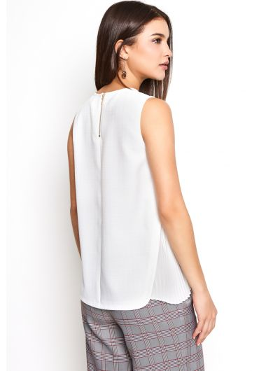Chiffon-Pleated Tank Top
