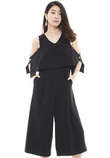Double Layer Cold Shoulder Jumpsuit