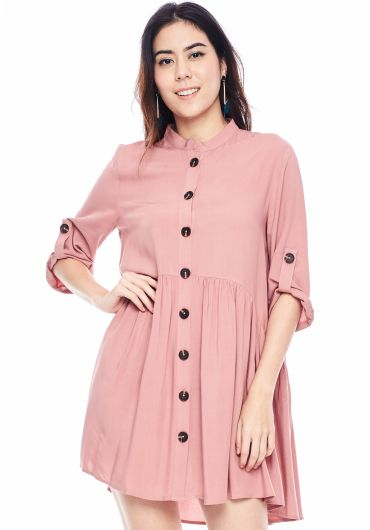 Crew Neck Buttoned Shirt Dress