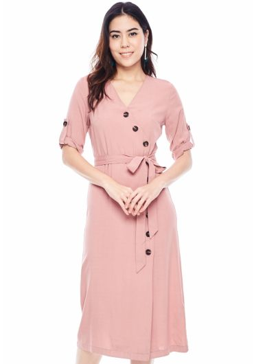 Waist Tie Wrap Dress with Button Detail