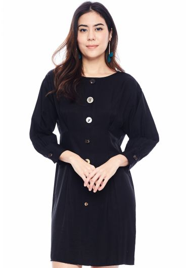 Bishop Sleeve Buttoned Midi Dress