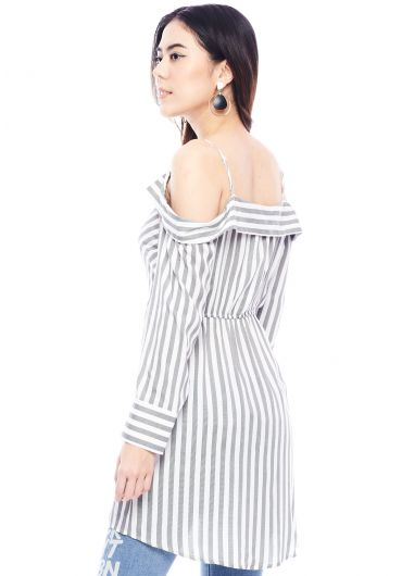 Knotted Off Shoulder Striped Shirt Dress