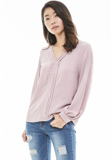 V-neck Bishop Sleeve Pearl Blouse