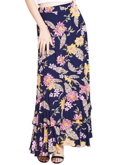 Two-Tiered Floral Maxi Skirt