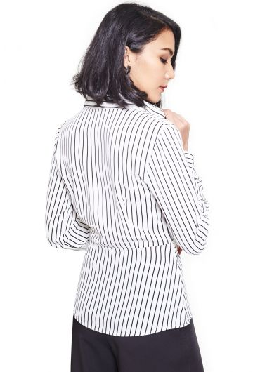 Twisted Waist Striped Shirt