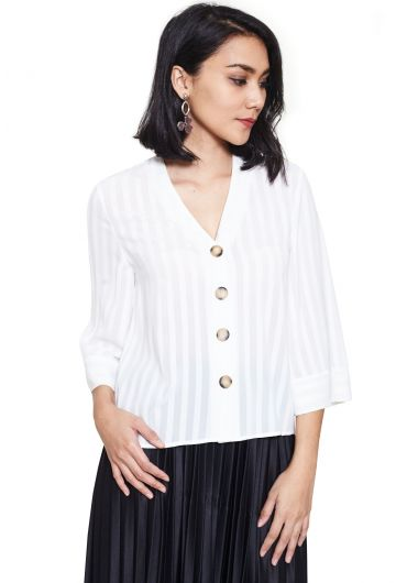 Loose Sleeve Button Up Blouse