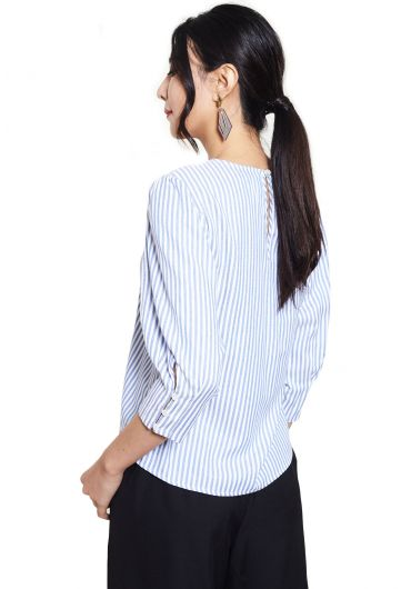 Pleated Cuff Sleeve Striped Blouse
