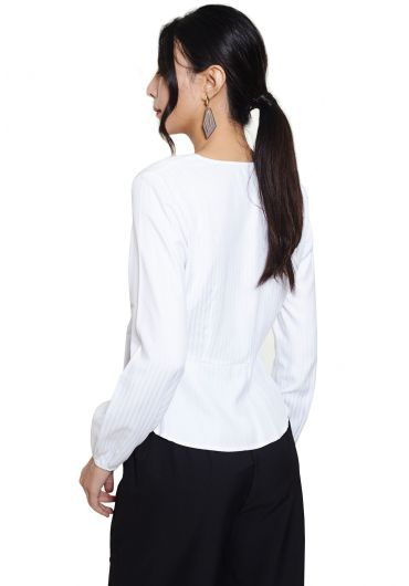 Side Button Wrap Blouse