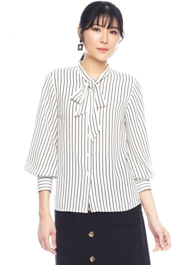 Tie-Bow Long Sleeve Striped Shirt