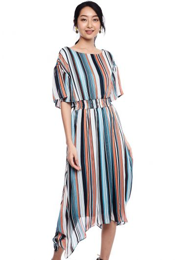Bayadere Striped Midi Dress