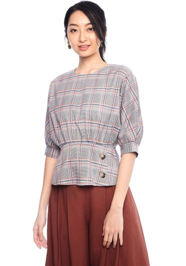Tartan Bishop Sleeve Blouse