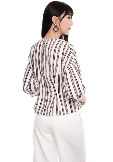 Shadow Stripe Pleated Waist Blouse