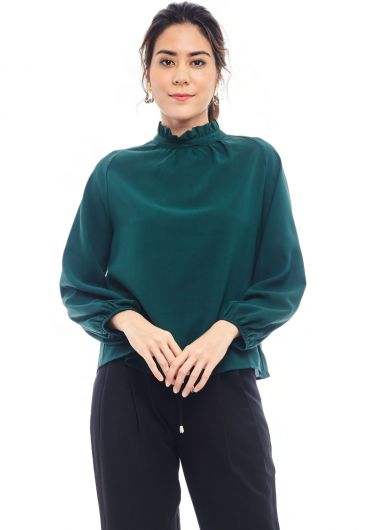 Ruffled Turtleneck Blouse