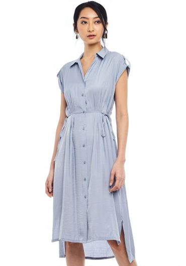 Buttoned Down Collar Sheath Dress