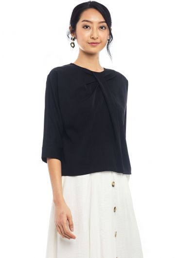 Pleated Neckline Top