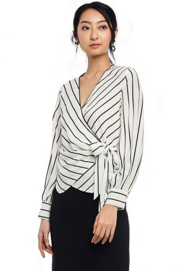 Pencil Stripe Wrap Blouse