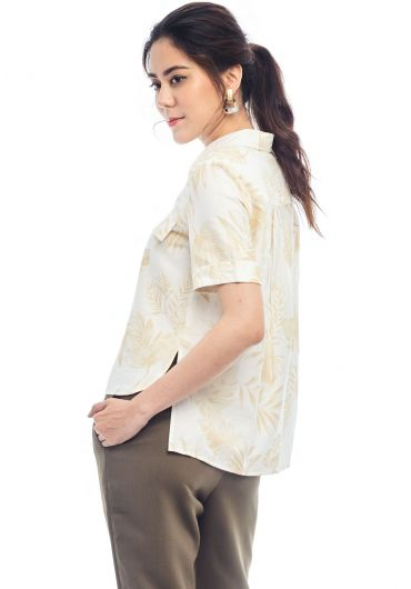 Leaf Motif Short Sleeve Shirt