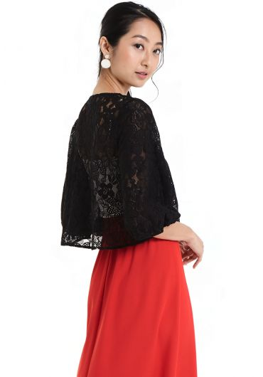 Round Neck Lace Cardigan