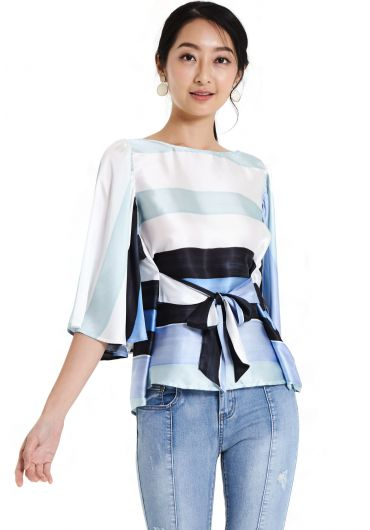 Awning Stripes Long Sleeve Blouse