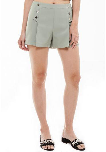 Button Front Folded Shorts