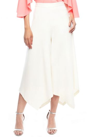 Asymmetrical Wide Leg Midi Pants