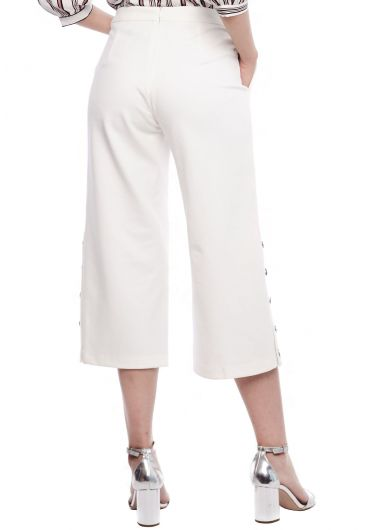 Button Bottom Midi Wide Leg Pants