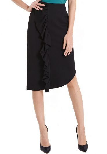 Side Ruffle Pencil Skirt