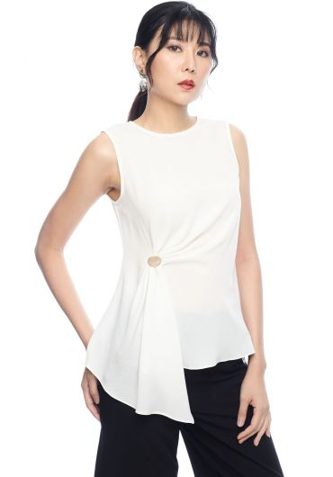 Side Gather Sleeveless Blouse