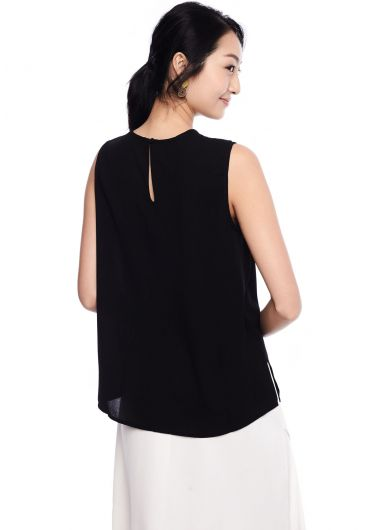 Side-Gathered Sleeveless Blouse