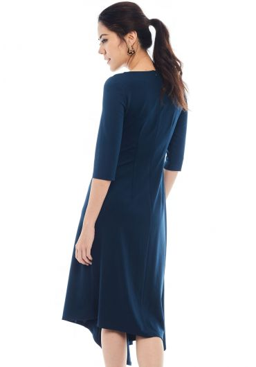 Side Cinched Asymmetrical Dress