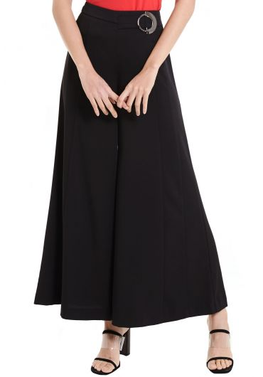 Side Buckled Wide Leg Pants