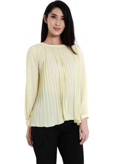 Pleated Collar Bishop Sleeve Blouse