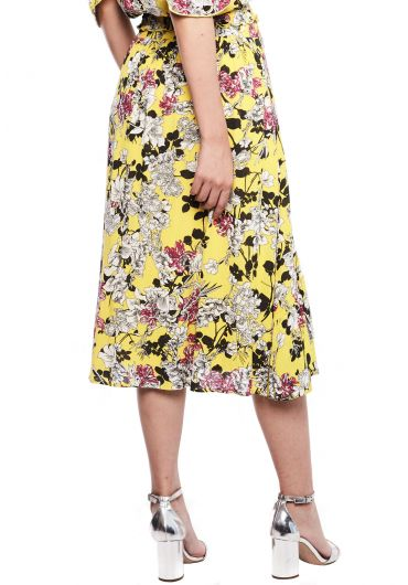 Floral Ruffle Tiered Midi Skirt