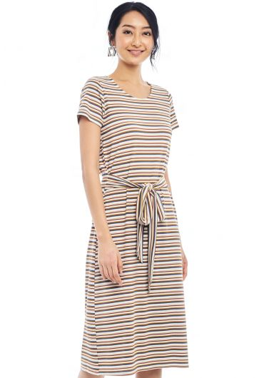 Multicoloured Striped Waist Tie Knit Dress