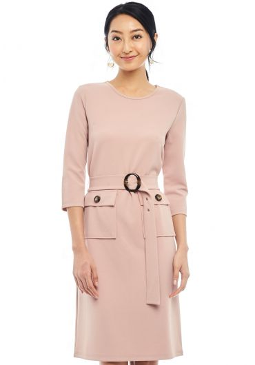 Buckle Waist Sheath Dress