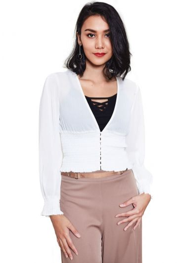 Deep Neck Fitted Cardigan