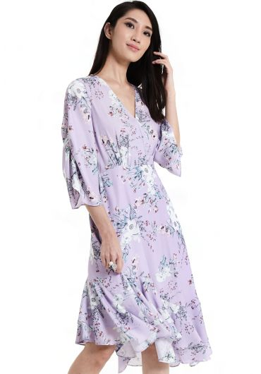 Floral Asymmetrical Flounce Dress